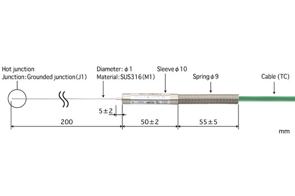 K型热电偶:B1.0-K-J1-M1-L200-TC1-ANP