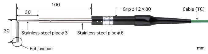 微小表面用表面温度传感器 CS系列 E型热电偶 CS-03E-010-1-TC1-ANP K型热电偶 CS-03K-010-1-TC1-ANP