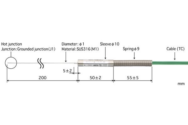 E型热电偶:B1.0-E-J1-M1-L200-TC1-ANP
