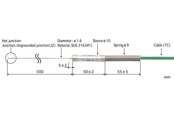 E型热电偶:B1.6-E-J2-M1-L500-TC1-ANP
